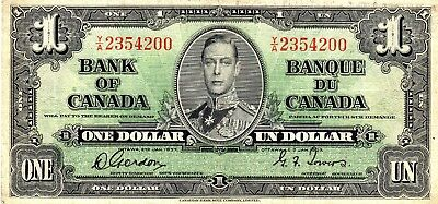 1937 Bank Of Canada One 1 Dollar Bank Note Nice Bill