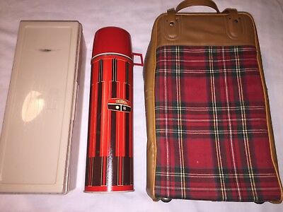 Vintage Picnic Set Red Plaid Bag w Thermos King Seeley Bottle & Lunch Box 1970s