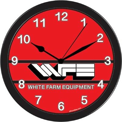 White Outdoor garden farm equipment tractor collectable Large Wall Clock Black