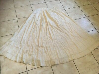 Antique Edwardian off white cotton skirt slip with all over pink design & lace