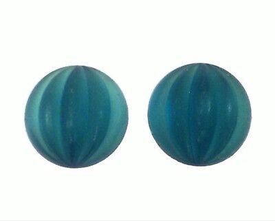 Qty 2 - New 15mm Montana Blue Matte Frost Ribbed Round Flat Back Glass Cabochons
