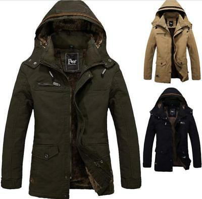 Winter Mens Military Thick Cotton Padded Trench Coat Ski Jacket Hooded Parka New