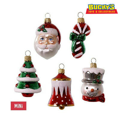 Symbols of the Season 2017 Hallmark Premium MINI Glass Ornament Set 5 Santa Bell