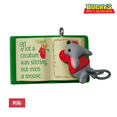 Mouse With Book 2017 Hallmark MINI Ornament #1 A Creature Was Stirring In-Stock