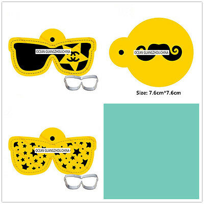 3 Pcs Packed Glasses Set Cookie Cake Stencil Decorate Mould Fondant Biscuit Tool