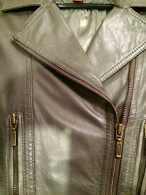 Stunning quality leather Jacket butter soft in med grey s/12? fits an 8 to s/10