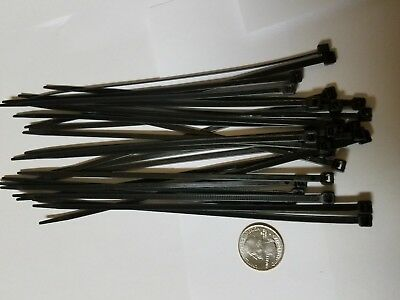"25 Pack 8"" Black Zip Ties/Cable Ties. Heavy Duty Nylon UV Resistant UL Scorpion"