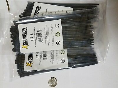 "300 Pack 8"" Black Zip Ties/Cable Ties Heavy Duty Nylon UV Resistant UL Scorpion"