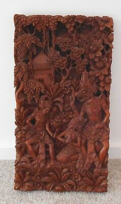 Beautiful Exquisite Vintage Indonesian Deeply Carved Wood Wall Hanging