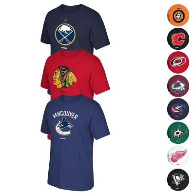 """NHL Reebok """"Jersey Crest"""" Team Primary Logo Graphic T-Shirt Collection Men's"""