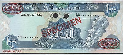 Lebanon 1000 Lira  22.11.1990  P 69as  De La Rue Specimen # 016  Uncirculated