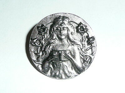 "Pretty Girl Reading Book Antique Reproduction Pewter Finish Metal Button 1"" diam"