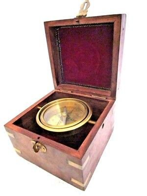 Vintage Style Marine COMPASS with BOX - Brass - Little & Very Nice (295)