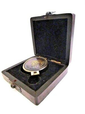 Vintage Style Marine COMPASS with BOX - Brass - Little & Very Nice (589)