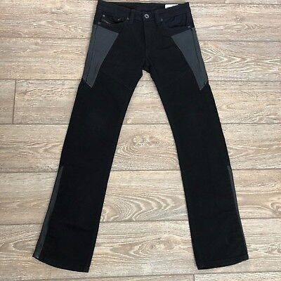 Diesel Kid Youth Boys Jeans Size 10 Viker J Party Pants Leather Panels Black