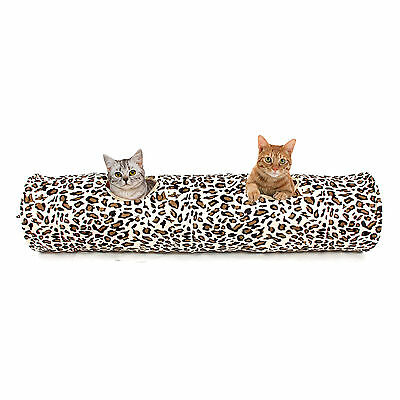 Leopard Pet Cat Tunnel Large Kitten Toys Print Crinkly Foldable 2 Holes Tunnel