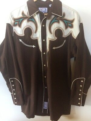 Vintage Style Panhandle Slim Western Shirt Rockabilly Retro Pearl Snaps As New!!
