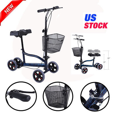 Foldable Steerable Knee Walker Scooter Turning Brake Basket Cart FDA Approved OY