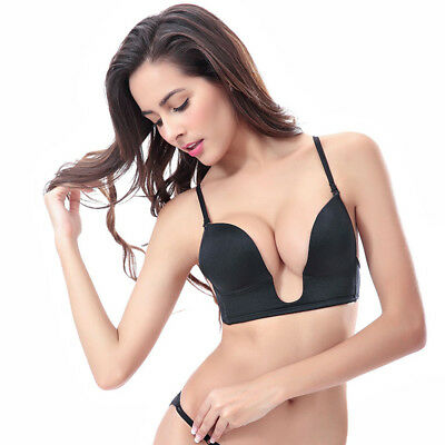 Sexy U Plunge Bra Backless Multiway Invisible Straps Low Front Cleavage Bralette