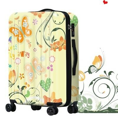 E211 Butterfly Tax Stamp Universal Wheel Travel Suitcase Luggage 20 Inches W