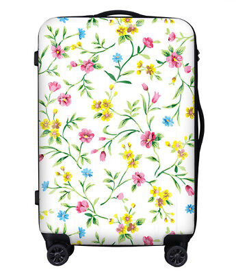 E241 Lock Universal Wheel Yellow Flowers Travel Suitcase Luggage 20 Inches W