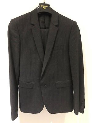 Saxony Mens Black Pinstripe Wool Suit Jacket Size M or 38 Pant Size 32 New