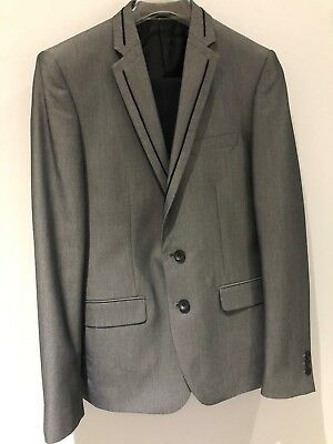 Saxony Mens Grey Black Suit Jacket Size M or 38 Pant Size 32 New