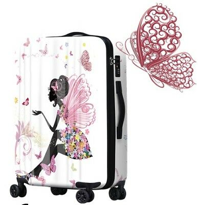 E821 Lock Universal Wheel Butterfly Girl Travel Suitcase Luggage 20 Inches W