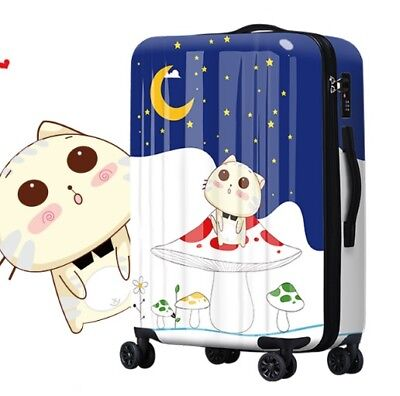 E429 Universal Wheel Cartoon Cat Starry Sky Travel Suitcase Luggage 24 Inches W