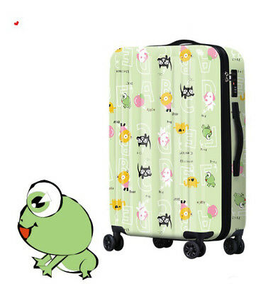 E444 Lock Universal Wheel Green Characters Travel Suitcase Luggage 24 Inches W