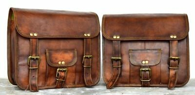 Saddlebags Saddle Panniers For Motorcycle 2 Bags  Side Pouch Brown Leather Bag
