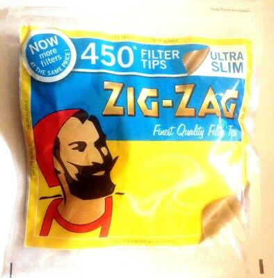 4 x ZIG ZAG Resealable Bag of 450 ULTRA SLIM Cigarette Filter Tips = 1800 Tips