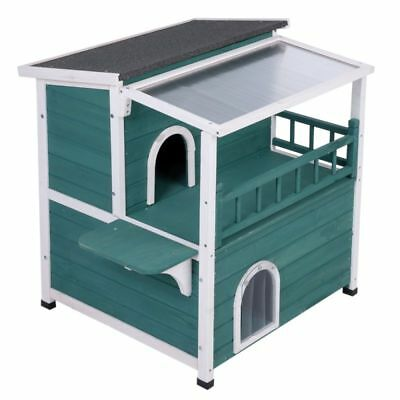 Cat Outdoor House Shelter Pen Kennel Enclosure With Sunroof Wooden Cabin Hut UK