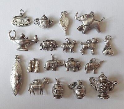 VINTAGE SILVER ASSORTED PUFFY CHARMS, ELEPHANTS, BELLOWS, TEAPOT, OIL LAMP etc
