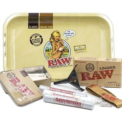 Raw Girl Tray 1 1/4  Cones Bundle Raw Loader, Tin, 20 Cones, Lanyard, & More