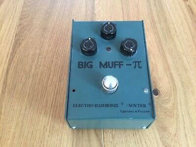 """Sovtek Big Muff Pi Bubble Font v7 Army Green """"Made in Russia"""" Vintage Fuzz"""