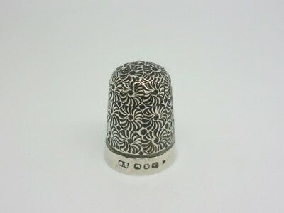 Antique Victorian 1896 Solid Sterling Silver Thimble - Interesting Design