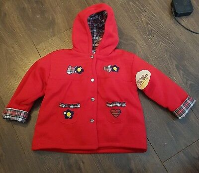 carriage boutique girls hooded cardigan red age 18 months bnwt vtg new