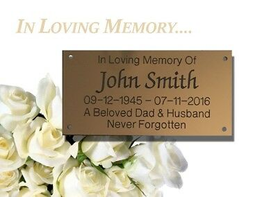 Brass Effect or silver engraved  Personalised Memorial Bench Plaques