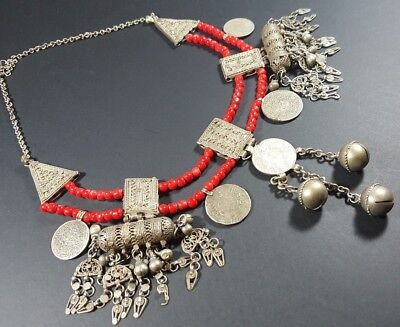 Vintage Antique Old Yemenite Bedouin Tribal Red Coral Silver Coin Necklace N21