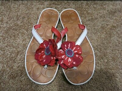 ec2032079 COACH SANDALS RED flower leather flip flop thongs size 6M -  29.00 ...