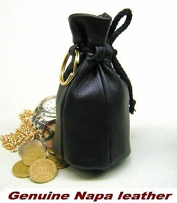 Old style Genuine Napa Real Leather coin Wallet jewellery Drawstring pouch purse
