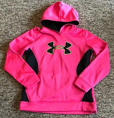 Girl's Under Armour Storm Pink Logo Pullover Sweatshirt Hoodie Sz YLG Large