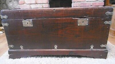 Antique captains ships chest coffer campaign oak ? very old
