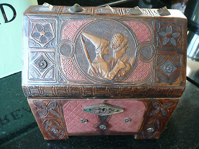 Arts and Crafts French Medieval Revival Leather Tooled Casket/Jewellery Box