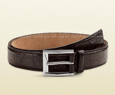 b932b35f68f  850 Gucci Mens Brown Crocodile Leather 223901 Belt Square Buckle 90   36