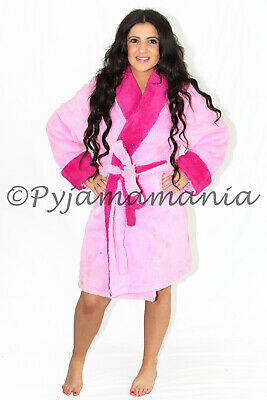 Ladies Winter Thick Coral Fleece Dressing Gown (0687) Robe Pink Sz S-XL