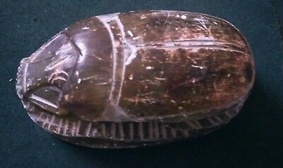 Large Old Carved Etched Stone Egyptian Scarab Beetle Hieroglyphics paperweight