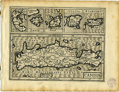 1607 Genuine Antique map Greece. 6 Islands. Candia, Corfu. by Mercator/Hondius