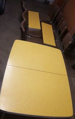 "Vintage 1950s Retro Formica Chrome Dinette Kitchen Table & 8 Chairs 35"" x 72"""